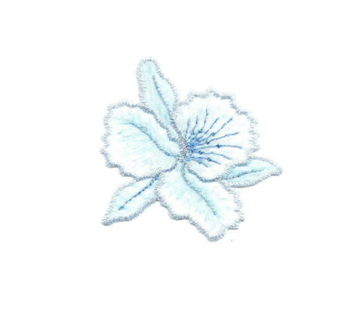 Embroidered Iron On Applique Patch Tropical Flower Cattleya Orchids