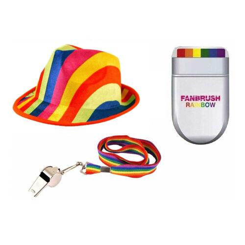 Adult Rainbow Gay Pride Festival Dress Up Instant Kit Felt Gangster Hat FanBrush