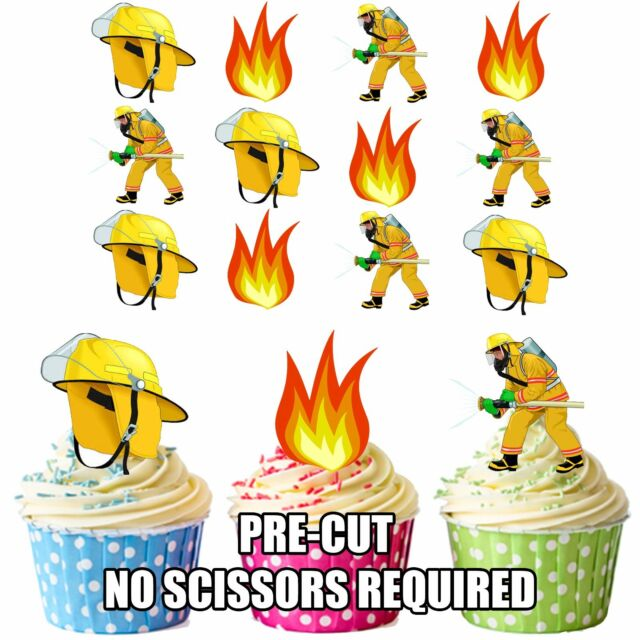 PRECUT Fireman Fire Fighter Flames 12 Edible Cupcake Toppers Cake Decorations