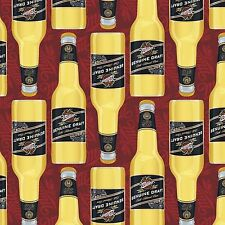 Licensed Miller Draft Beer Bottles 100% cotton fabric by yard FREE SHIP to USA