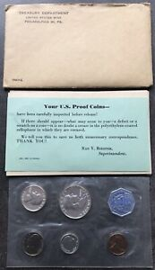USA-1960-Proof-Set-Philadelphia-in-Umschlag-Silber-PP-polierte-Platte-1c-50c