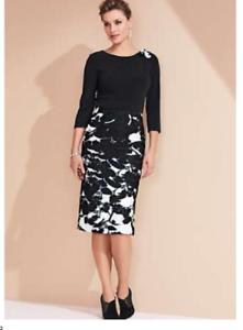Stylish-Draped-Bodice-Dress-with-Corsage-Detail-Size-20