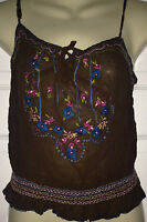 Ladies pretty 100% silk brown cami embroidered top NAUGHTY designer Size 10 NEW