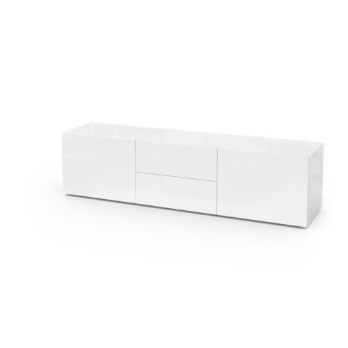 Meuble TV armoire basse Table Massa 139 cm en Blanc Haute Brillance