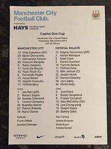 MAN-CITY-V-CRYSTAL-PALACE-28-10-2015-CAPITAL-ONE-CUP-OFFICIAL-TEAMSHEET