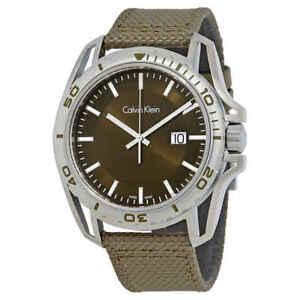 Calvin-Klein-Earth-Green-Dial-Men-039-s-Nylon-Watch-K5Y31XWL