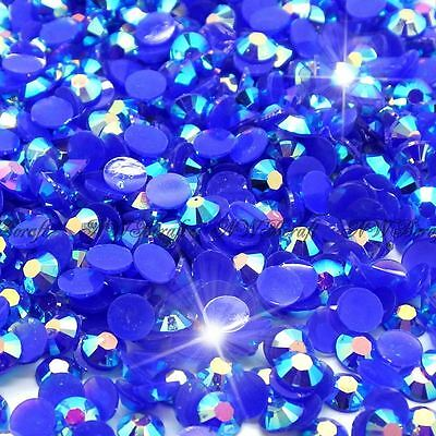 Royal Blue AB 1000pcs Rhinestone Beads Flat Back Nail Art Craft Gems