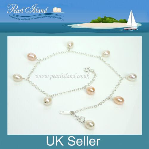 11 inch Freshwater Peach White Pearl Sterling Silver Ankle Bracelet Bracelets