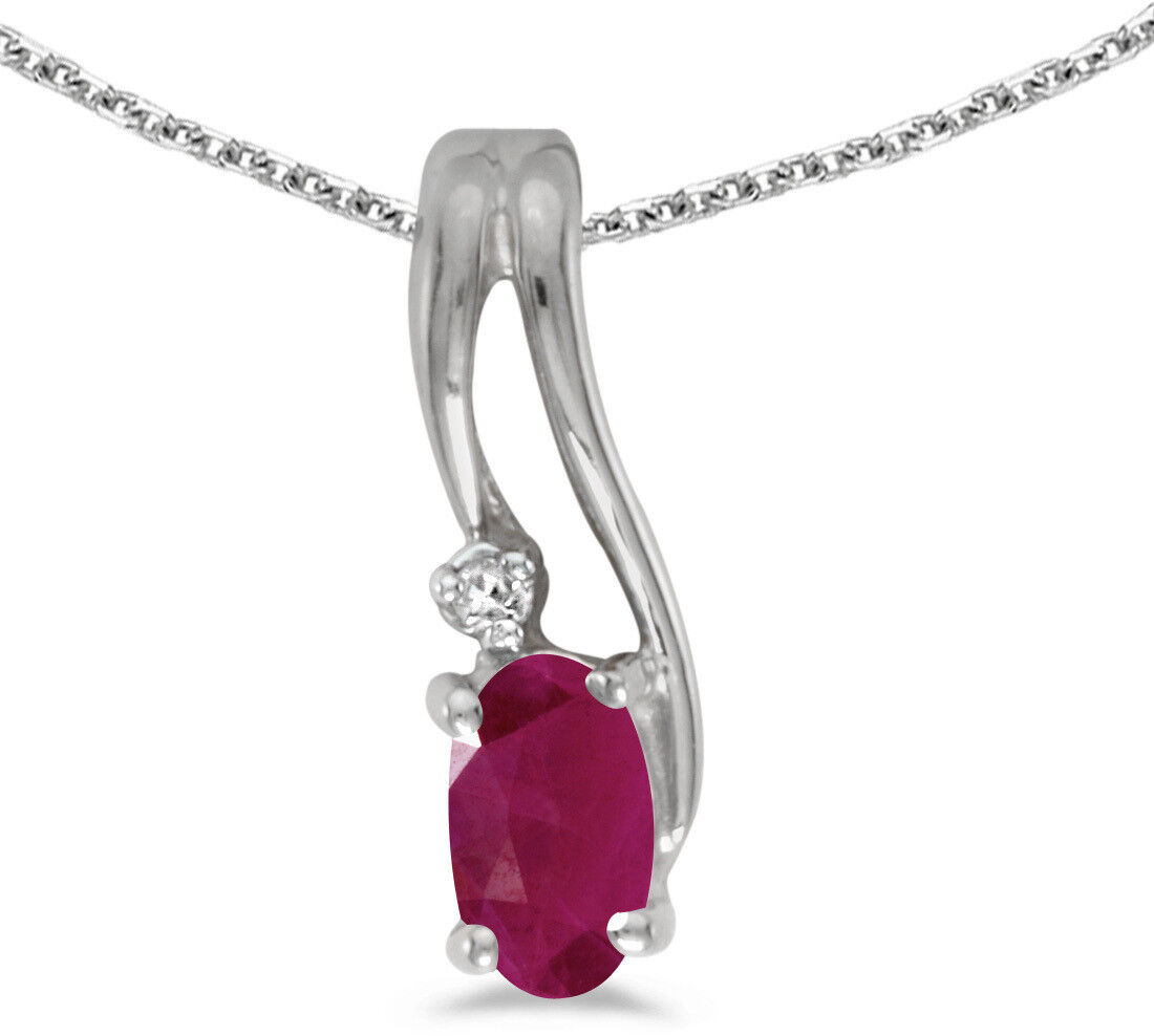14k White gold Oval Ruby And Diamond Wave Pendant (Chain NOT included)
