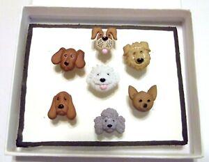 DOG-BREEDS-Animal-Push-Pins-Thumb-Tacks-Handmade-Decorative-Office-7-pc-Set