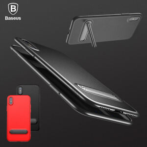 For-Apple-iPhone-X-Ultra-Thin-Slim-Shockproof-Kickstand-PU-Back-Case-TPU-Cover