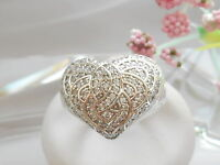 Qvc-diamonique Bombay Sterling Silver Heart Ring Size 8