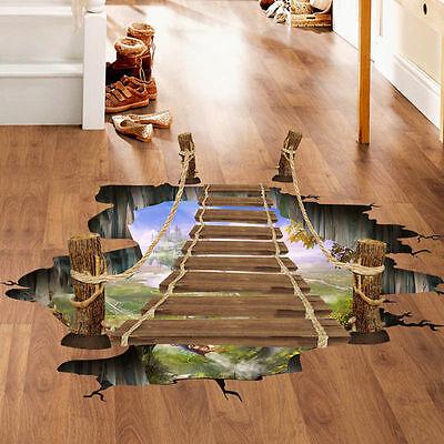 New Removable 3D Bridge Floor Wall Sticker Mural Decal Vinyl Art DIY Home Decors