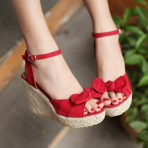 Womens Vogue Peep Toe Creepers Wedge High Heel Bowknot Ankle Strap Sandals Shoes