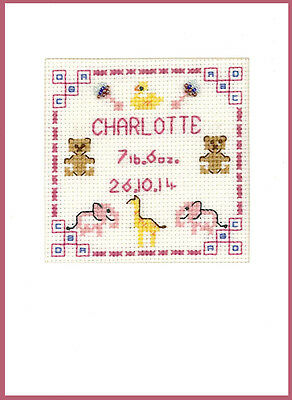 Cross stitch greeting card for a new Birth in pinks complete kit on 16 aida