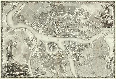 Saint Petersburg CIty Map 1753 PDF file Antique Huge Russian Empire Map