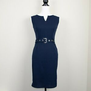 Navy-Blue-Vintage-1950s-Style-Belted-Wiggle-Pencil-Dress-BNWT-Size-8-10