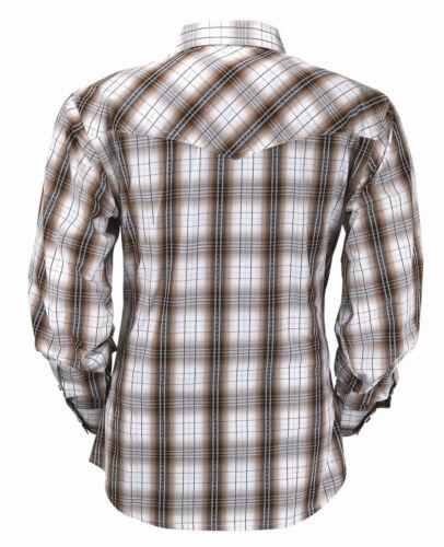 Mens Brown Tan Plaid Moisture Wicking Western Horse Show Rodeo Farm Ranch Shirt