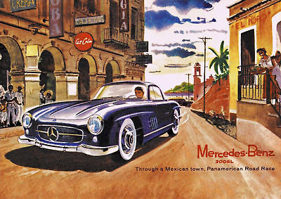 Vintage Mercedes-Benz 300SL in Mexico Poster Print