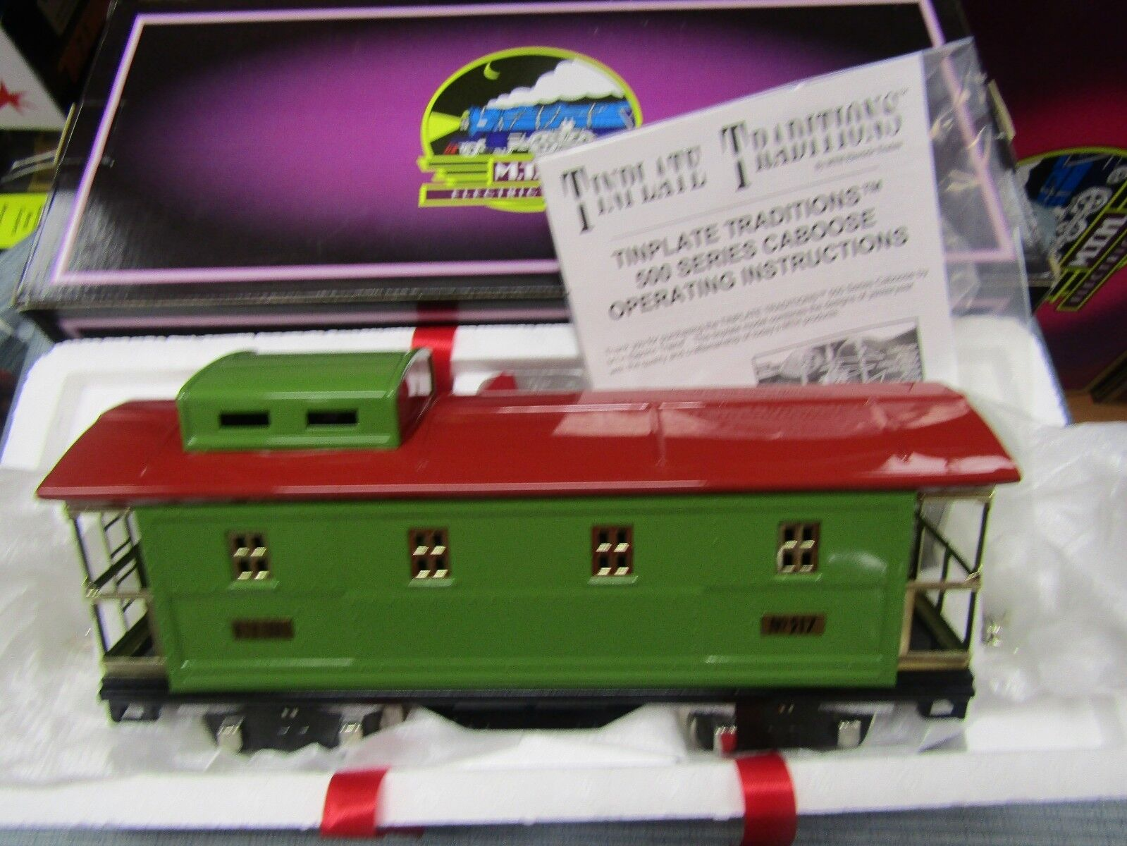 MTH 10-1099  NO.500 CABOOSE PEA verde-rosso with BRASS  NEW STANDARD GAUGE