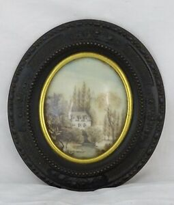 ANTIQUE-FRENCH-VICTORIAN-MOURNING-HAIR-ART-CONVEX-GLASS-FRAME