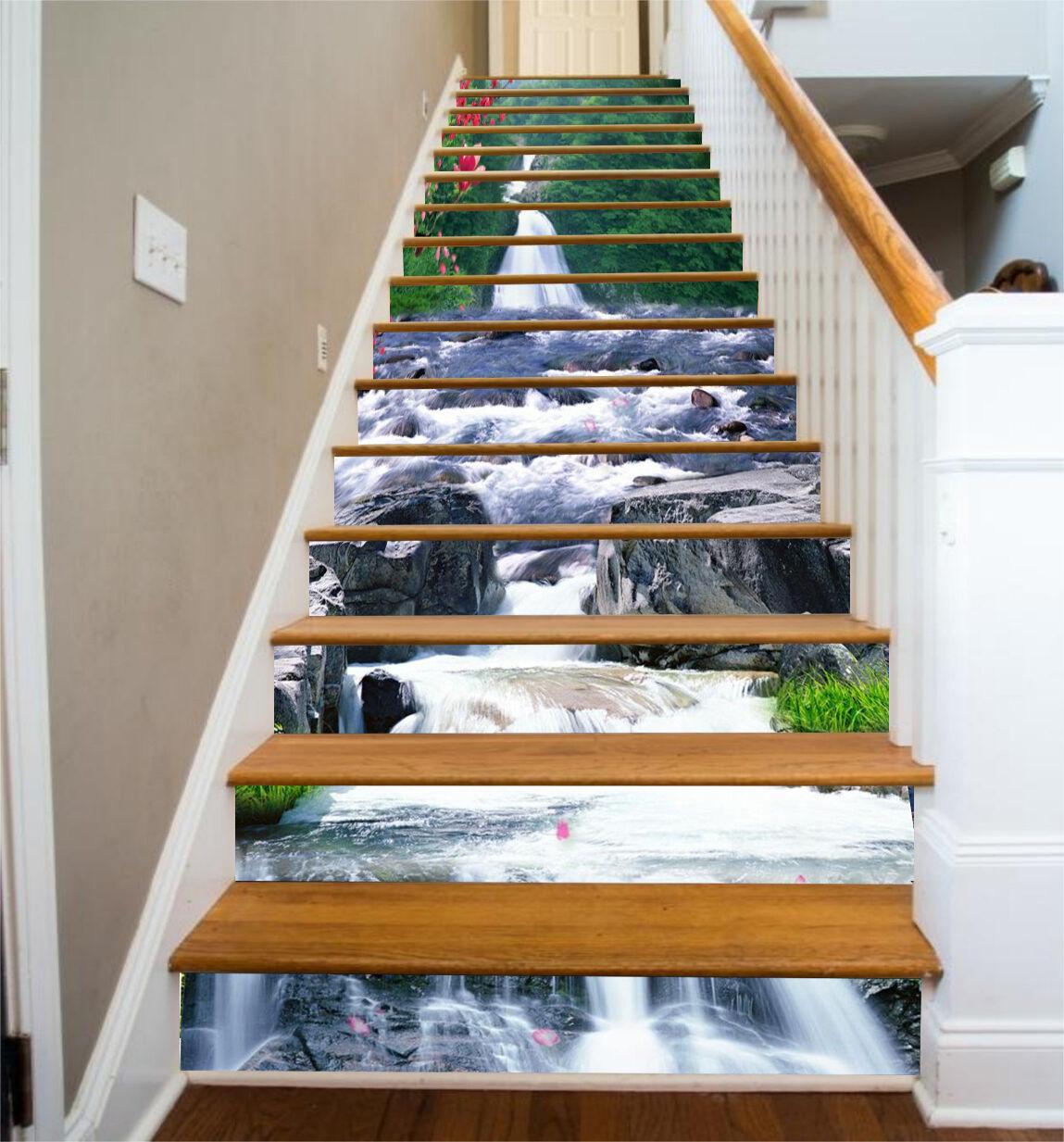 3D Stream Squid 72 Stair Risers Decoration Photo Mural Vinyl Decal Wallpaper CA