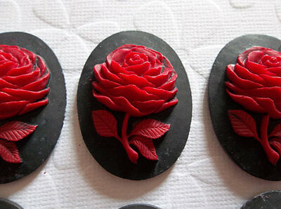 Red Rose Flower on Black Cameo - 40 X 30mm Resin Cabochons - Qty 6