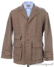 RALPH LAUREN Brown Tweed 100% Wool Norfolk Style Womens Jacket Coat - Size 4