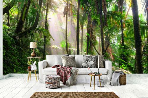 3D Sunshine Jungle Landscape Self-adhesive TV Background Bedroom Mural Wallpaper