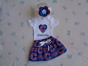 Image is loading Chicago-Cubs-Baby-Girl-Skirt-Personalized-Bodysuit-and- 4b8a289eb57