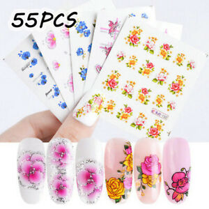 55-Sheets-Nail-Art-Transfer-Stickers-3D-Various-Decal-Manicure-Decoration-Tips