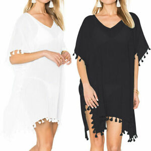 Black-White-Women-Beach-Dress-Cover-Up-Kaftan-Sarong-Summer-Wear-Swimwear-2019