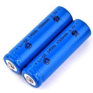2-x-Lithium-Ionen-Akku-3-7-V-1500-mAh-Typ-14500-Li-ion-Groesse-50-x-14-mm-wie-AA