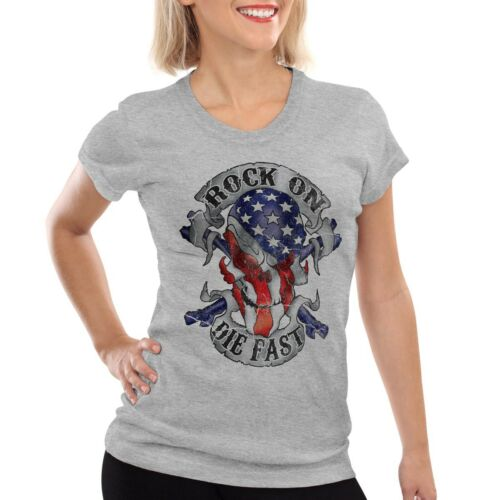 USA Rocker Skull Damen T-Shirt Totenkopf sons stars stripes amerika anarchy soa