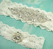 Gorgeous Pearl Rhinestone Garter Ivory Wedding Garter Set Stretch Lace Garter