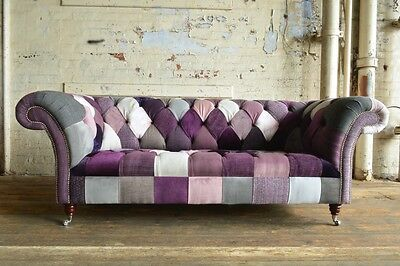 MODERN HANDMADE 3 SEATER BRIGHT PURPLE MIX PATCHWORK FABRIC CHESTERFIELD SOFA