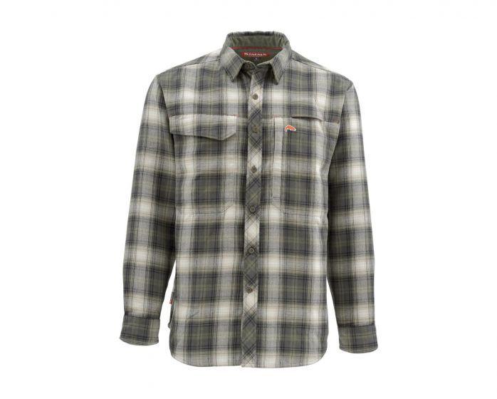 Simms Guide Flannel Long Sleeve Shirt -Olive Plaid - Größe Medium - Closeout