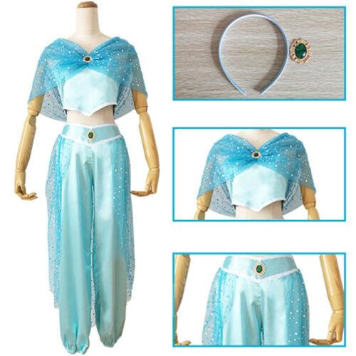 Halloween Princess Jasmine Aladdin Cosplay Party Costume Tops Pants Hairband Set