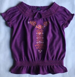 Gap-shirt-size-2T-24-Months-Girls-Purple-Smock-Style-Embroidery-Top-Cotton