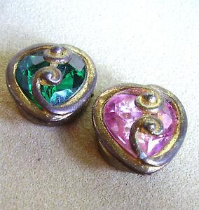 1305 / Deux Cache-boutons Metal Dore Et Verre Colore Xhj5jo14-07233533-470388909