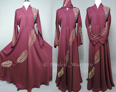 Dubai Abaya Kaftan Jilabiya Muslim Women Maxi Dress Flare Umbrella Style Navy