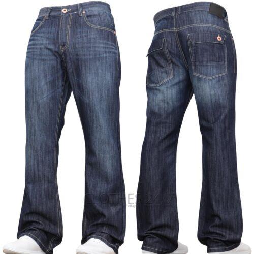 Nuovo da Uomo Jeans Svasati a Zampa Blu Svasato Gamba Larga Lavoro Re Plus All
