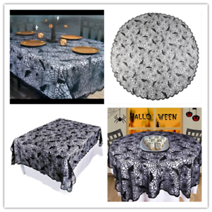 Halloween-Black-Lace-Spider-Web-Table-Runner-Tablecloth-Party-Home-Table-Decor-D