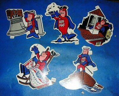 Budweiser Bud Man Patriot w// Flag Sticker Vintage Authentic Ad 1976 8 x 4