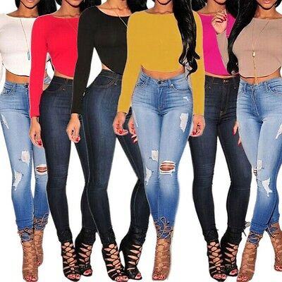 Sexy Women Bodycon Stretch Open Backless Cropped T-shirt Top Blouse Club Casual