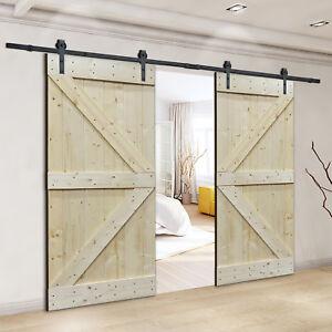 Details about 12FT Frosted Black Sliding Door Hardware w/Unfinished  Interior DIY Barn Doors