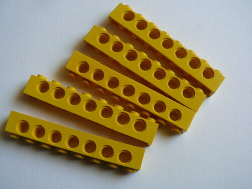 5 yellow technic bricks 1 x 8 Lego 5 briques tech jaunes set 8439 8134 8431