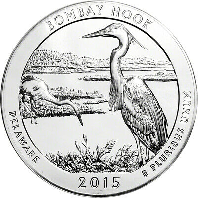 2015 Silver 5 oz Coin ATB Bombay Hook Bullion in Capsule