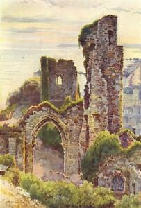 Hastings Castle. Sussex. By Ernest Haslehust 1920 Old Vintage Print Picture