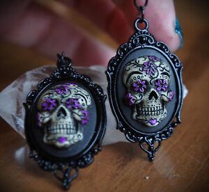 Black Purple Sugar Skull Calavera Day Of The Dead Dia De Los Muertos Earrings Ebay